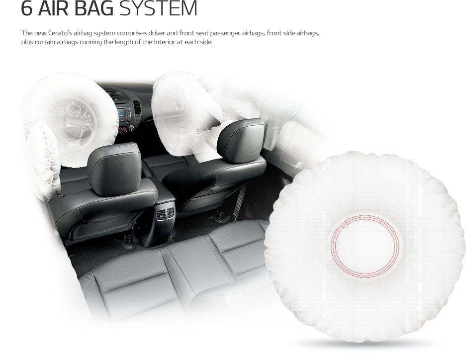 6 air bag SYSTEM - The new Cerato's airbag system comprises driver and front seat passenger airbags, front side airbags, plus curtain airbags running the length of the interior at each side.